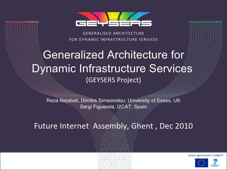 Generalized Architecture for Dynamic Infrastructure Services   (GEYSERS Project) Reza Nejabati, Dimitra Simeonidou, Univer...