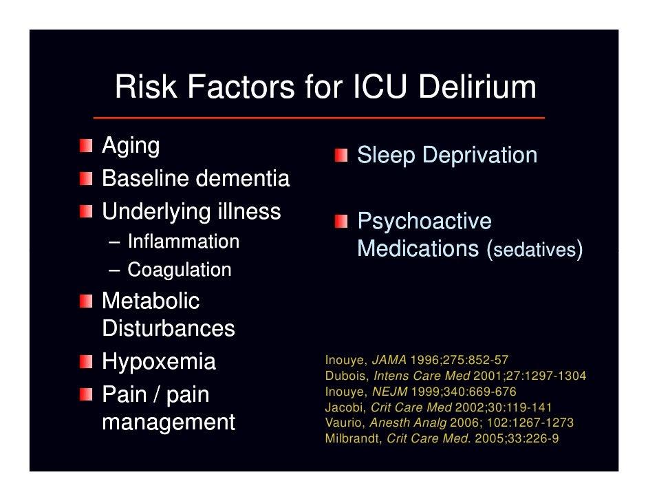 management of icu delirium Amanda bettencourt is a pediatric clinical nurse specialist at uf health shands children's hospital, gainesville, florida jodi e mullen is a clinical leader, pediatric intensive care unit.
