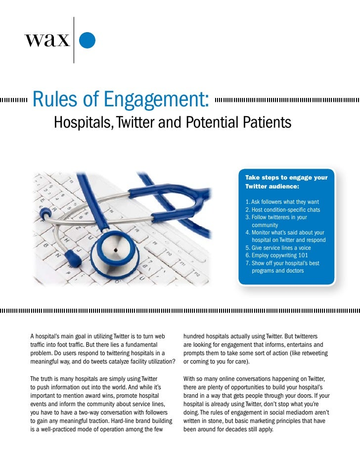 Rules of Engagement:          Hospitals, Twitter and Potential Patients                                                   ...