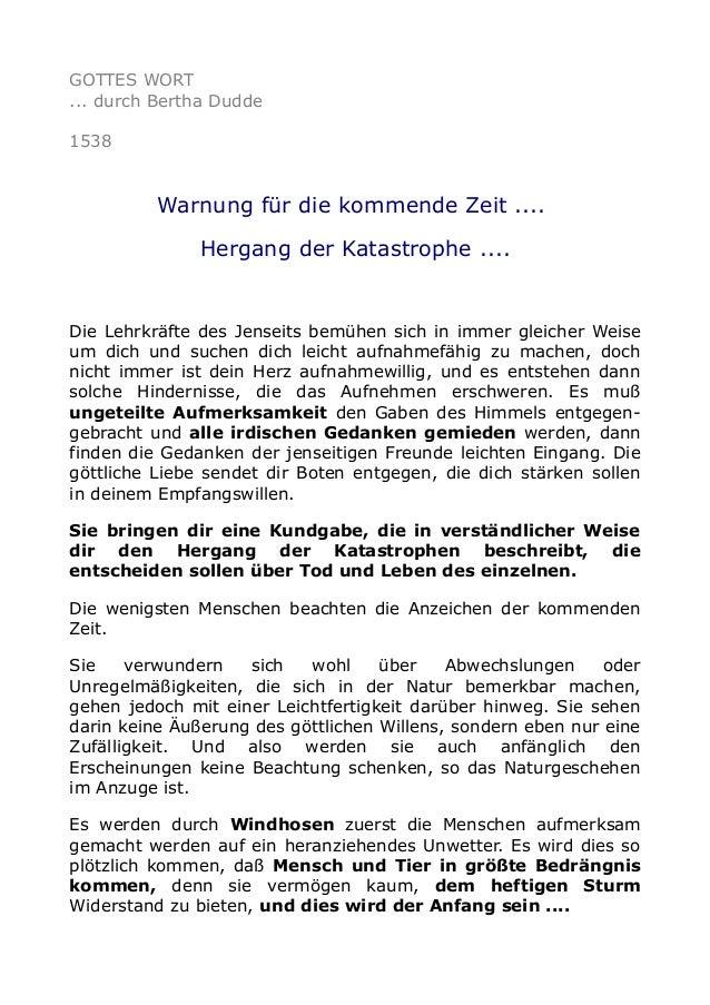 GOTTES WORT ... durch Bertha Dudde 1538  Warnung für die kommende Zeit .... Hergang der Katastrophe ....  Die Lehrkräfte d...