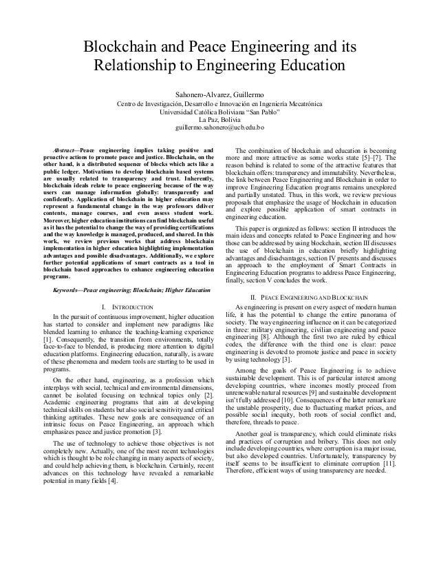 Blockchain and Peace Engineering and its Relationship to Engineering Education Sahonero-Alvarez, Guillermo Centro de Inves...