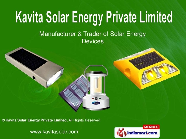 Manufacturer & Trader of Solar Energy                                    Devices© Kavita Solar Energy Private Limited, All...