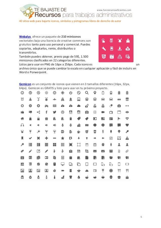 40 webs para bajar iconos, símbolos y pictogramas libres