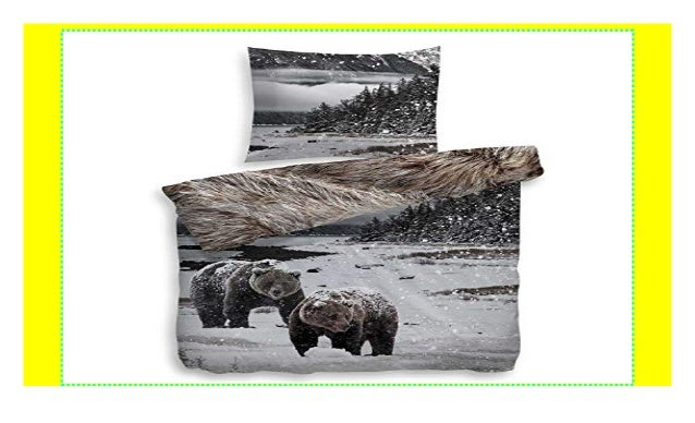 Heckett Lane Bettwäsche River Bunt Bären Felloptik Mako Satin Größ