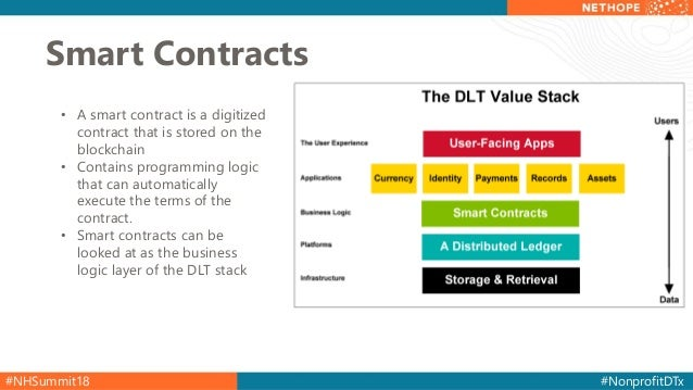 #NHSummit18 #NonprofitDTx Smart Contracts • A smart contract is a digitized contract that is stored on the blockchain • Co...