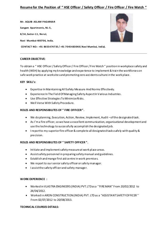Resume fire safety phd