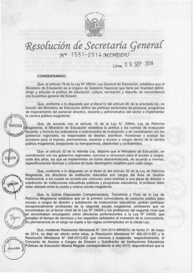 "Resofucién rfe . S'ecretcm'a generczf 9v"" 1.551-2014-9VlI9FE(D'U  Lima,  0 9    CONSIDERANDO:   Que,  el articulo 79 de la..."