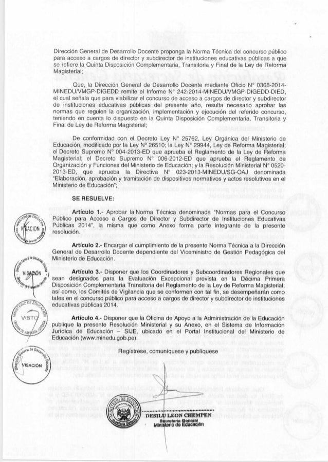 RSG 1551 2014-minedu 10-09-2014 CONCURSO PUBLICO PARA ACCESO A CARGOS DE DIRECTORES Y SUB DIRECTORES DE INSTITUCIONES EDUCATIVAS PUBLICAS 2014 Slide 2