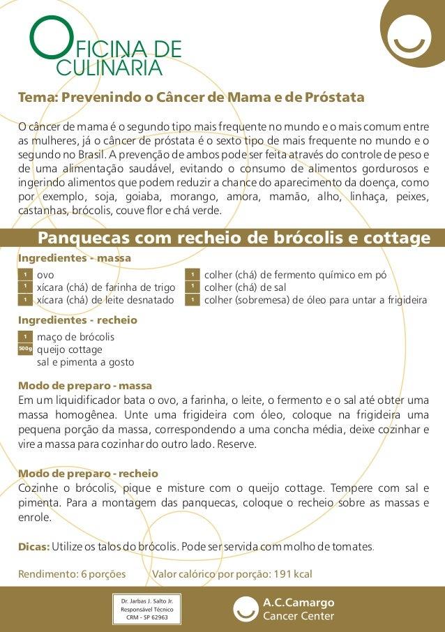 FICINA DE CULINÁRIA Panquecas com recheio de brócolis e cottage Ingredientes - massa Ingredientes - recheio ovo xícara (ch...