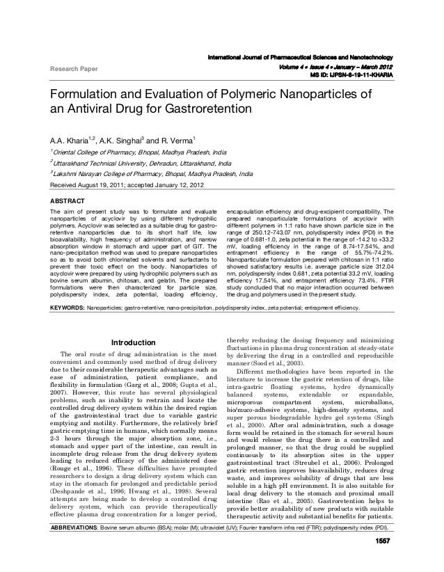 Kharia et al: Formulation and Evaluation of Polymeric Nanoparticles of an Antiviral Drug for Gastroretention  1557   In...
