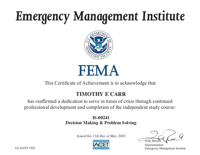 Fema Decision Making Problem Solving Is 00241 Certificate