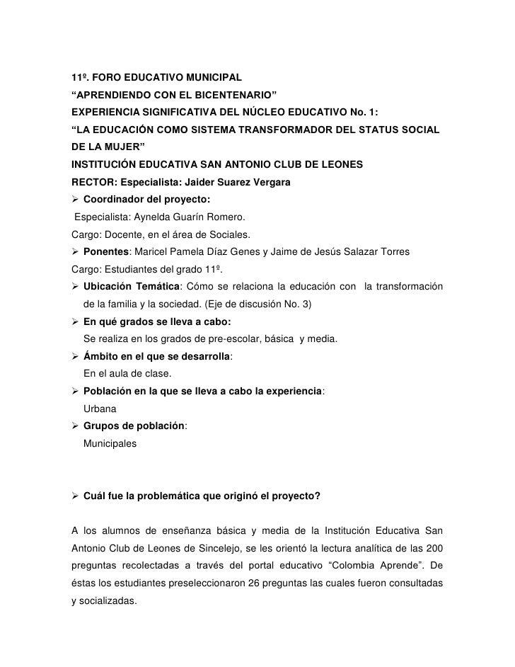 """11º. FORO EDUCATIVO MUNICIPAL<br />""""APRENDIENDO CON EL BICENTENARIO""""<br />EXPERIENCIA SIGNIFICATIVA DEL NÚCLEO EDUCATIVO N..."""