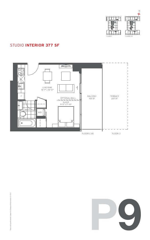 "N  + 09  FLOOR: 2  09  FLOORS: 3-8  studio Interior 377 SF  LIVE/DINE 15'-7"" x 10'-0"" F  OPTIONAL WALL  BALCONY 103 SF  TE..."