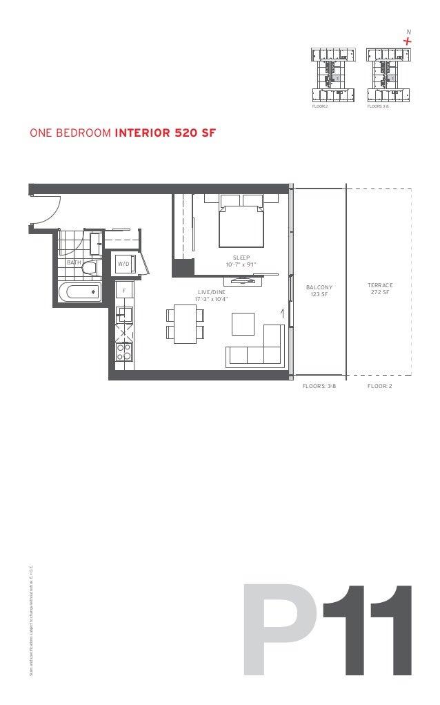 "N  + 11  FLOOR: 2  11  FLOORS: 3-8  one bedroom Interior 520 SF  BATH  W/D  SLEEP 10'-7"" x 9'1""  Sizes and specifications ..."