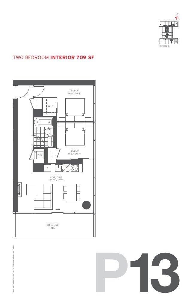 "N  +  13 FLOORS: 2-8  TWO Bedroom Interior 709 SF  SLEEP 9'-5"" x 9'4""  W.I.C.  BATH  SLEEP 9'-5"" x 9'7""  W/D  F  LIVE/DINE..."