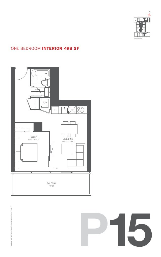 "N  +  15 FLOORS: 2-8  one Bedroom Interior 498 SF  BATH  W/D F  SLEEP 9'-0"" x 10'7""  LIVE/DINE 9'-10"" x 15'4""  Sizes and s..."
