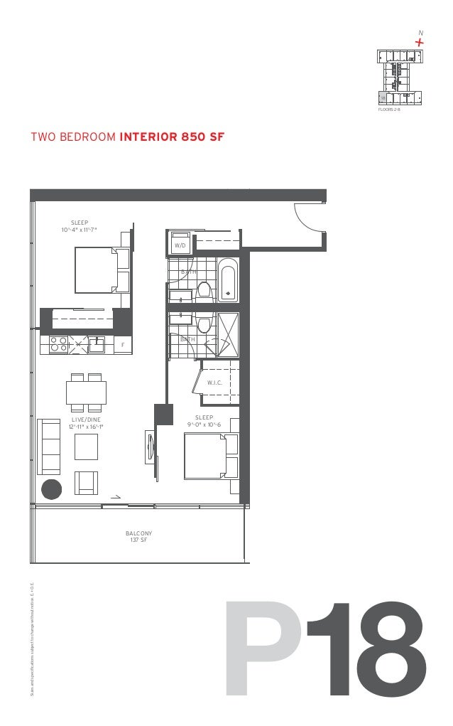 "N  + 18 FLOORS: 2-8  TWO Bedroom Interior 850 SF  SLEEP 10'-4"" x 11'-7"" W/D  BATH  BATH  F  W.I.C.  SLEEP 9'-0"" x 10'-6  L..."