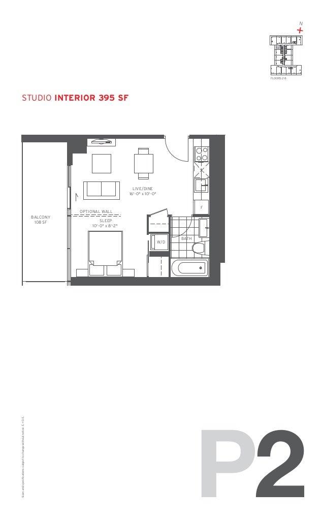 "N  + 02  FLOORS: 2-8  studio Interior 395 SF  LIVE/DINE 16'-0"" x 10'-0"" F  OPTIONAL WALL BALCONY 108 SF  SLEEP 10'-0"" x 8'..."