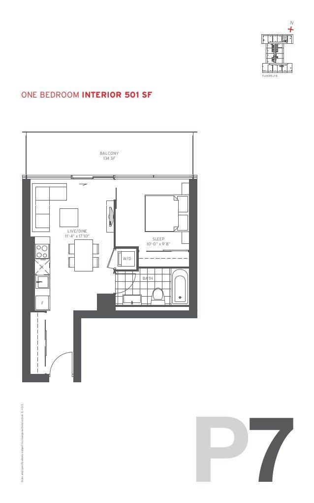"""N  + 07  FLOORS: 2-8  ONE Bedroom Interior 501 SF  BALCONY 134 SF  LIVE/DINE 11'-4"""" x 17'10""""  SLEEP 10'-0"""" x 9'8""""  W/D  BA..."""