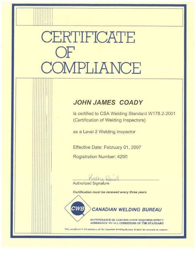 john coady certifications