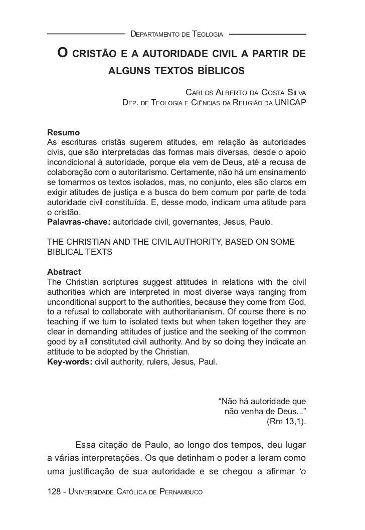 DEPARTAMENTO DE TEOLOGIA  O CRISTÃO E A AUTORIDADE CIVIL A PARTIR DE                 ALGUNS TEXTOS BÍBLICOS               ...