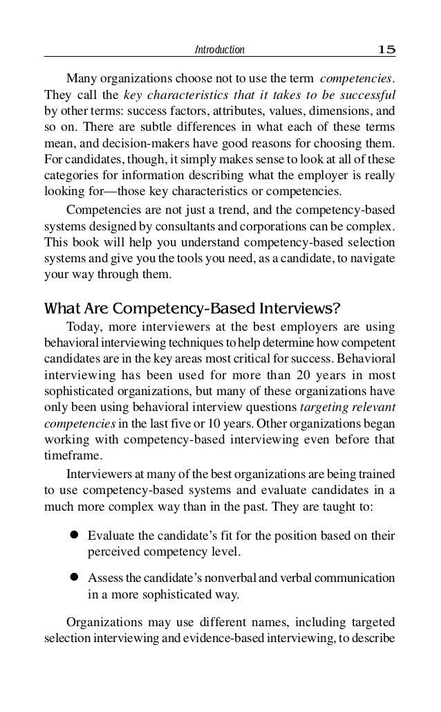 Competency Based Interviewing