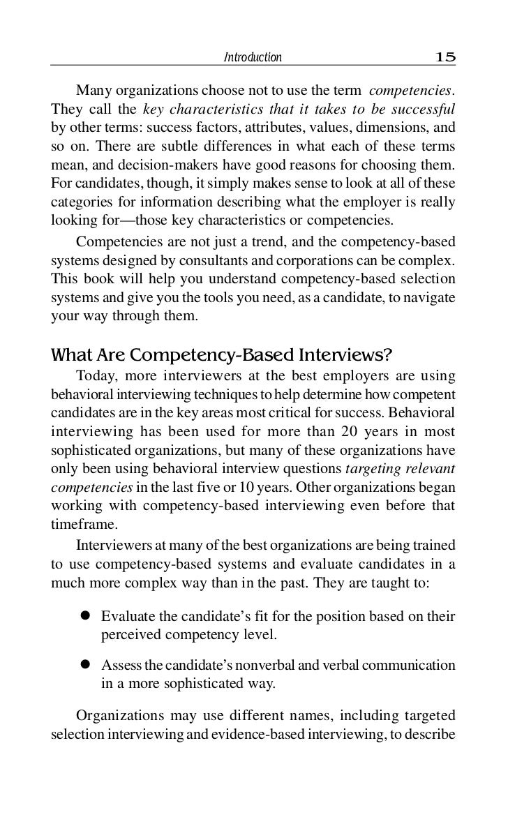 competency based interview describe 16