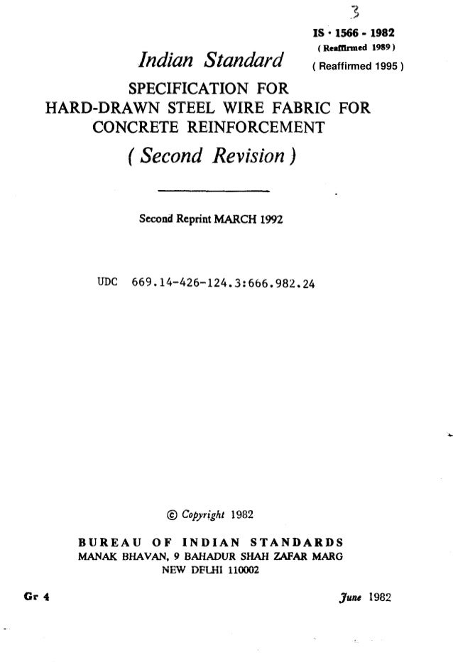 3 IS l Xi66 - 1982 In&m Standard (Reaffhtcd 1989 ) SPECIFICATION FOR HARD-DRAWN STEEL WIRE FABRIC FOR CONCRETE REINFORCEME...