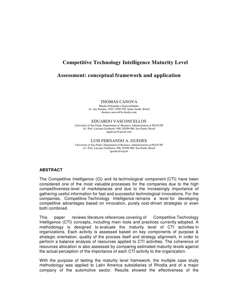 Competitive Technology Intelligence Maturity Level           Assessment: conceptual framework and application             ...