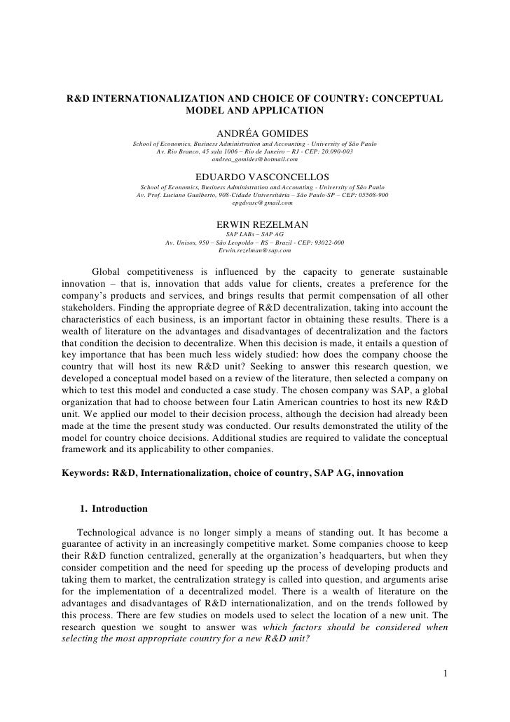 R&D INTERNATIONALIZATION AND CHOICE OF COUNTRY: CONCEPTUAL                    MODEL AND APPLICATION                       ...