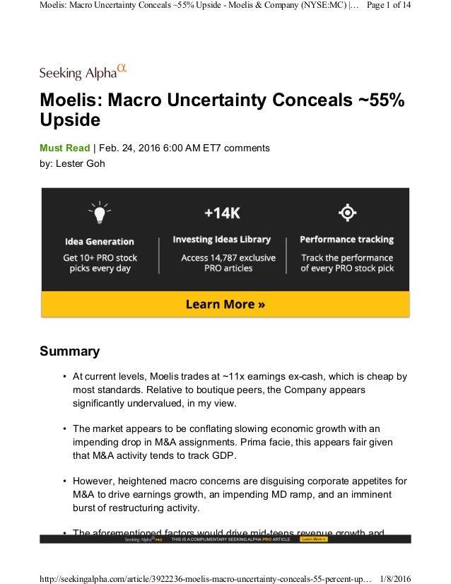 Moelis Macro Uncertainty Conceals ~55% Upside