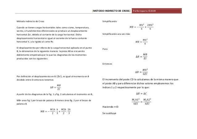 [METODO INDIRECTO DE CROSS] Perfectoparra ©2009  Método indirecto de Cross  Cuando se tienen cargas horizontales tales com...