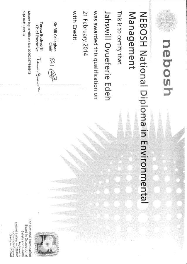 environmental diploma certificate nebosh environmental diploma certificate