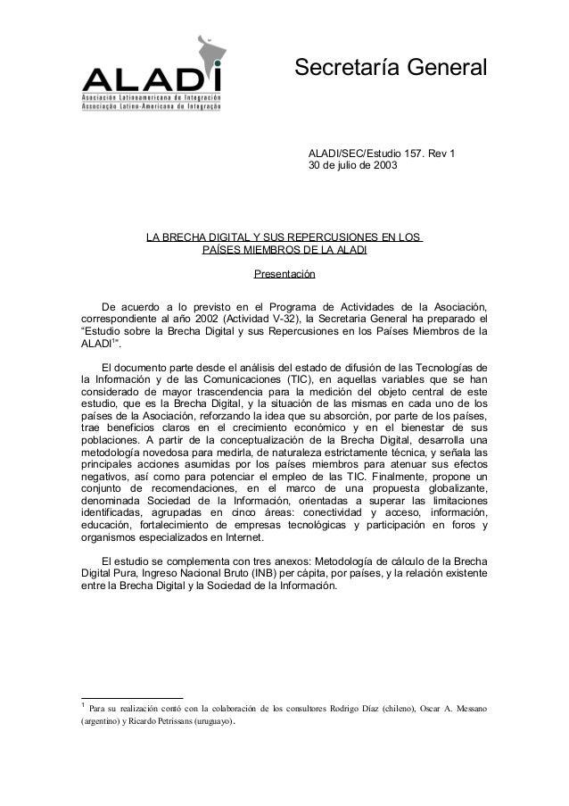 Secretaría General                                                           ALADI/SEC/Estudio 157. Rev 1                 ...
