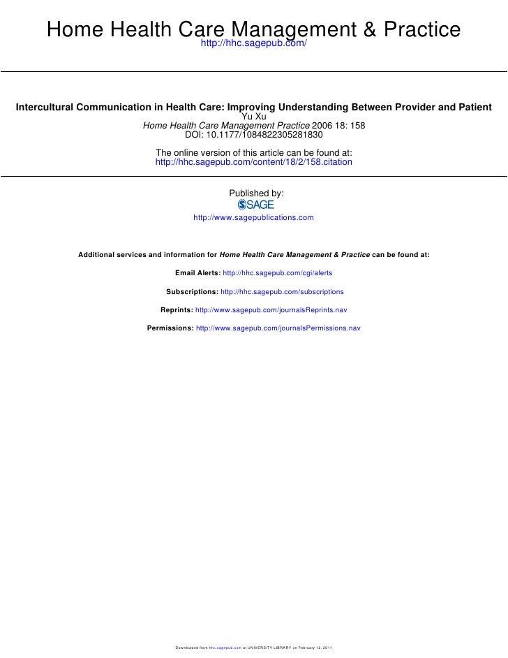 Home Health Care Management & Practice                    http://hhc.sagepub.com/Intercultural Communication in Health Car...