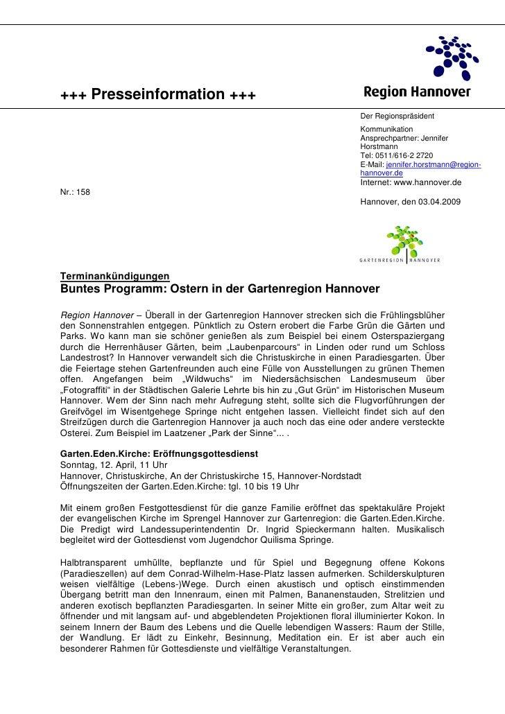 +++ Presseinformation +++                                                                        Der Regionspräsident     ...