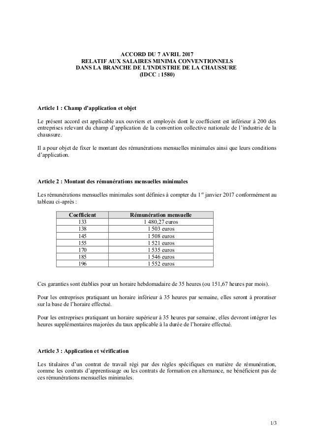 ACCORD DU 7 AVRIL 2017 RELATIF AUX SALAIRES MINIMA CONVENTIONNELS DANS LA BRANCHE DE L'INDUSTRIE DE LA CHAUSSURE (IDCC : 1...
