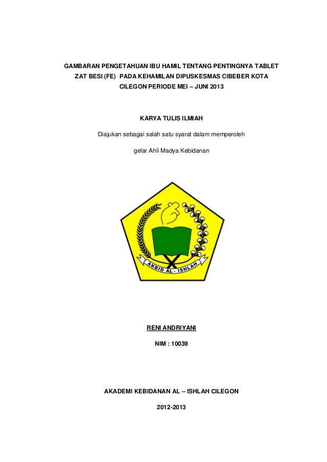 GAMBARAN PENGETAHUAN IBU HAMIL TENTANG PENTINGNYA TABLET ZAT BESI (FE) PADA KEHAMILAN DIPUSKESMAS CIBEBER KOTA CILEGON PER...
