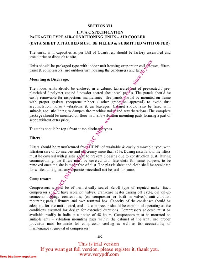 202 SECTION VII H.V.A.C SPECIFICATION PACKAGED TYPE AIR-CONDITIONING UNITS – AIR COOLED (DATA SHEET ATTACHED MUST BE FILLE...