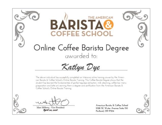 The American Barista Coffee School Online Diploma Kd