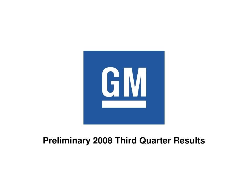 Preliminary 2008 Third Quarter Results