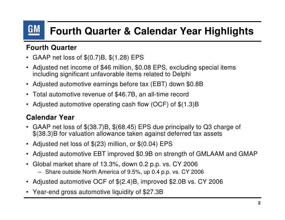 Earning Presentation of General Motors: Q4 2007 Slide 3