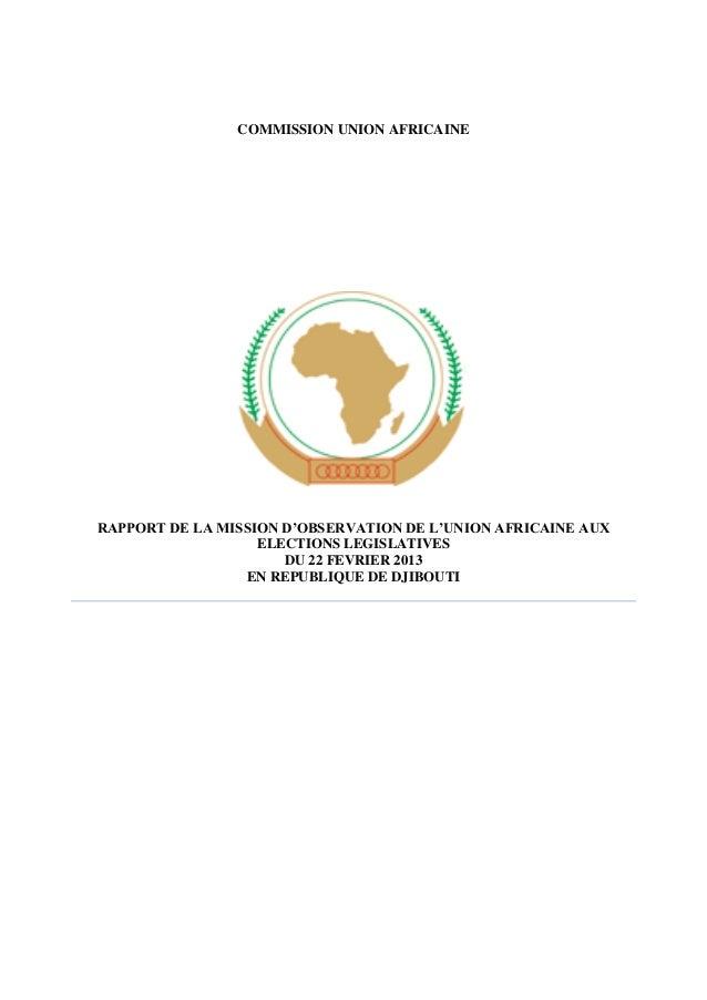 COMMISSION UNION AFRICAINE  RAPPORT DE LA MISSION D'OBSERVATION DE L'UNION AFRICAINE AUX ELECTIONS LEGISLATIVES DU 22 FEVR...