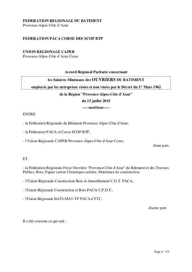 FEDERATION REGIONALE DU BATIMENT Provence-Alpes-Côte d'Azur FEDERATION PACA CORSE DES SCOP BTP UNION REGIONALE CAPEB Prove...