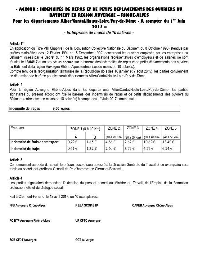 - ACCORD : INDEMNITÉS DE REPAS ET DE PETITS DÉPLACEMENTS DES OUVRIERS DU BATIMENT EN REGION AUVERGNE – RHONE-ALPES Pour le...