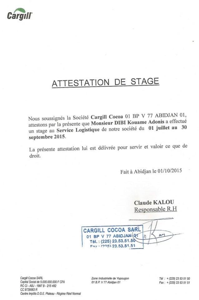 Attestation De Fin De Stage Cargill