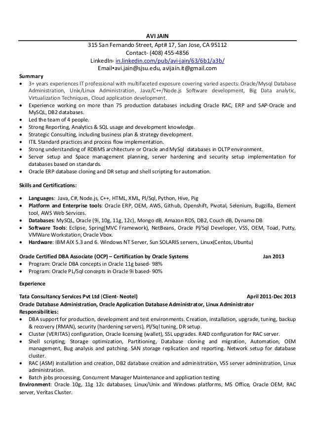 Additional coursework on resume describing