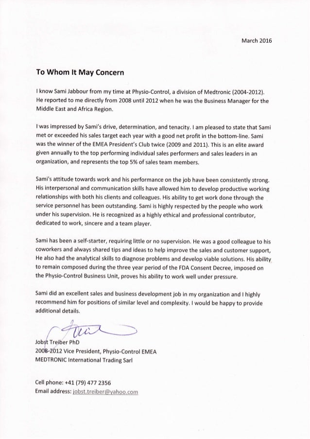 Jobst Treiber Reference Letter