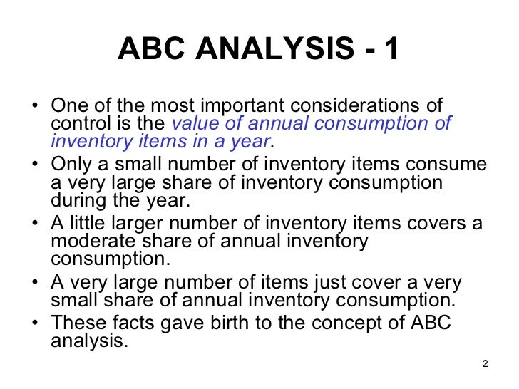 abc technique of inventory control