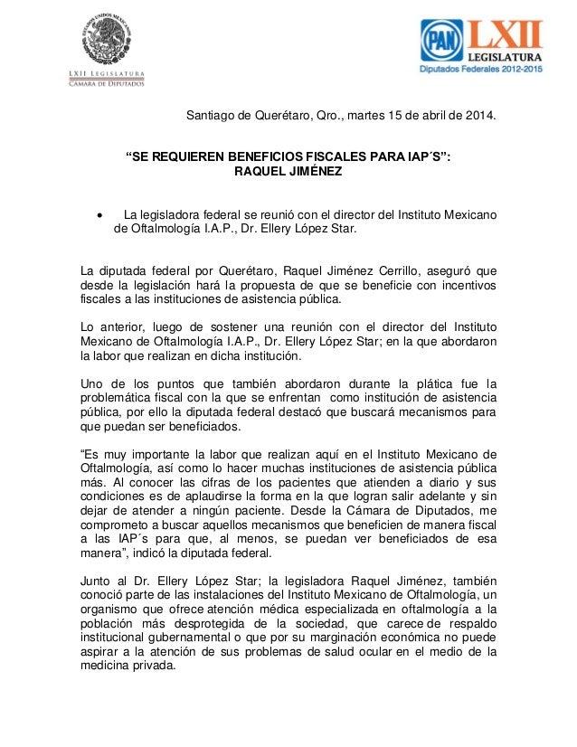 "Santiago de Querétaro, Qro., martes 15 de abril de 2014. ""SE REQUIEREN BENEFICIOS FISCALES PARA IAP´S"": RAQUEL JIMÉNEZ  L..."